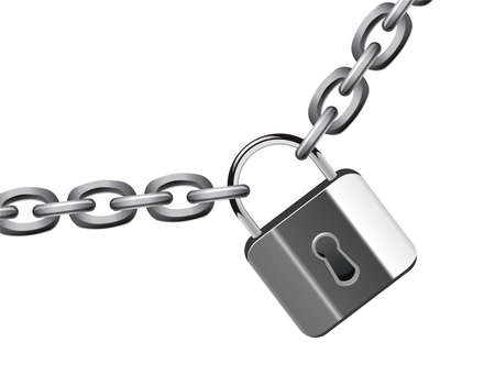 vector illustration of metal chain and padlock Vector
