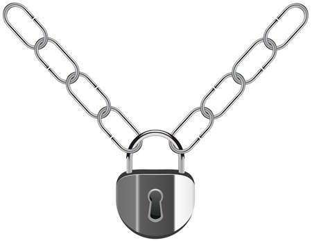 vector illustration of metal chain and padlock Stock Vector - 9808046