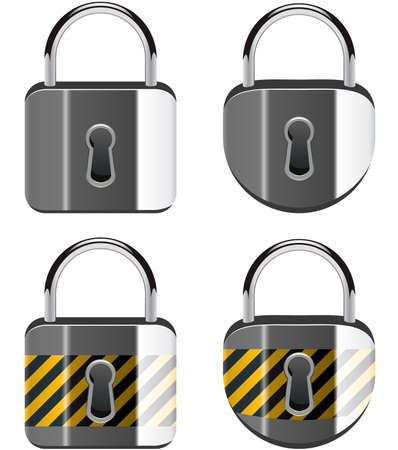 safe lock: vector set of padlocks