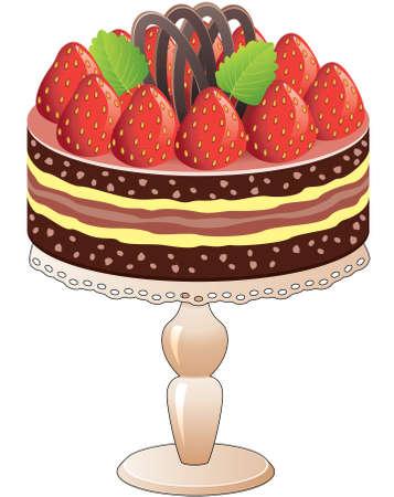gâteau vecteur sur un stand à la fraise et au chocolat
