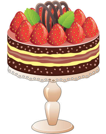 dessert stand: vector cake on a stand with strawberry and chocolate