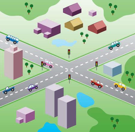 cruce de caminos: ilustraci�n con casas y coches en la carretera