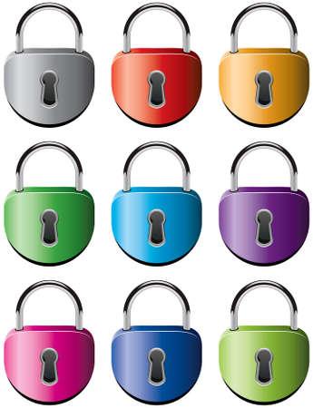 set of colorful metal padlocks Stock Vector - 9924271