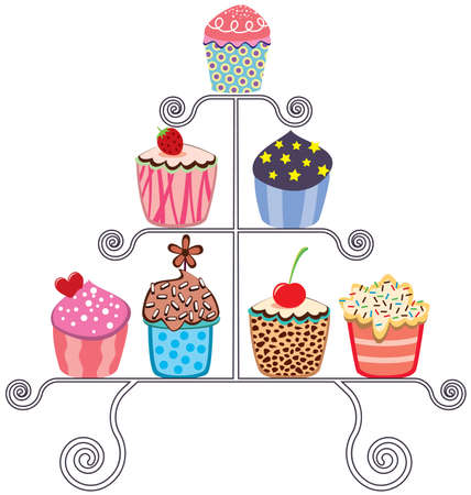 sprinkle: collection of various cupcakes on a stand