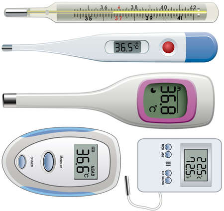 gray scale: set of thermometers of different types Illustration