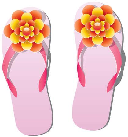 flip flop: pair of flip flops with flowers Illustration