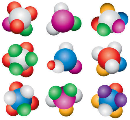 abstract molecule icon set Stock Vector - 9924251