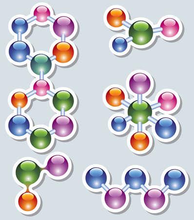 abstract molecule icon set Vector