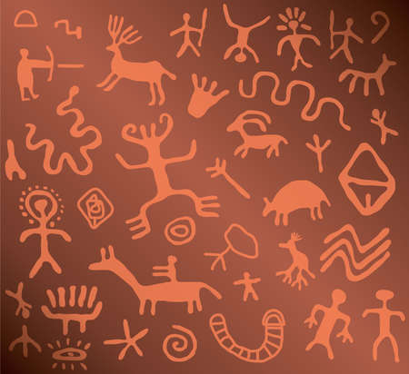 ancient petroglyphs  Vector