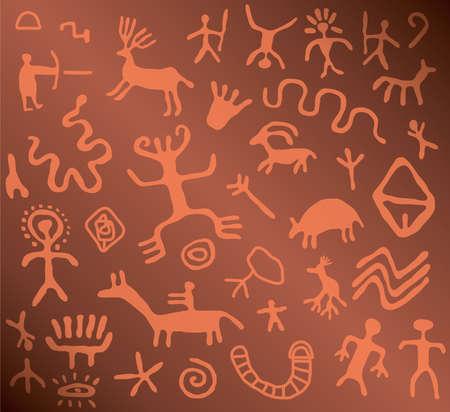 Petroglifos antiguos  Ilustración de vector