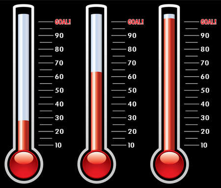 glass thermometer: thermometers at different levels