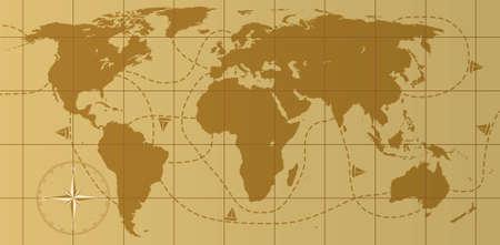 pacífico: retro world map with compass rose Ilustração