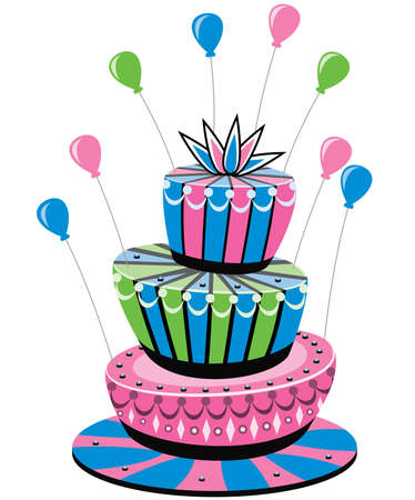 cake stand: vector colorful birthday cake