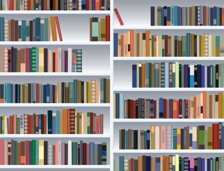 vector illustration of modern bookshelf  Stock Vector - 10036548