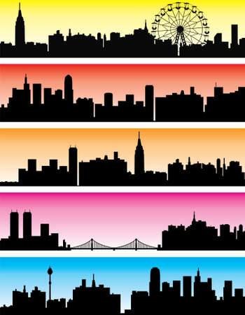 panoramic view: vector city backgrounds