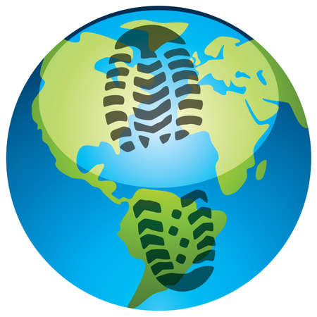 carbon footprint: vector concept of global footprint
