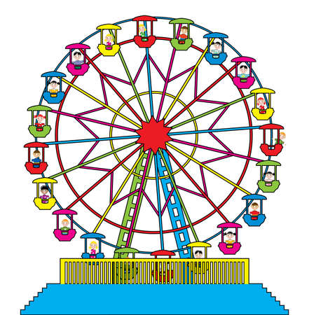amusement park black and white: vector illustration of ferris wheel with happy children