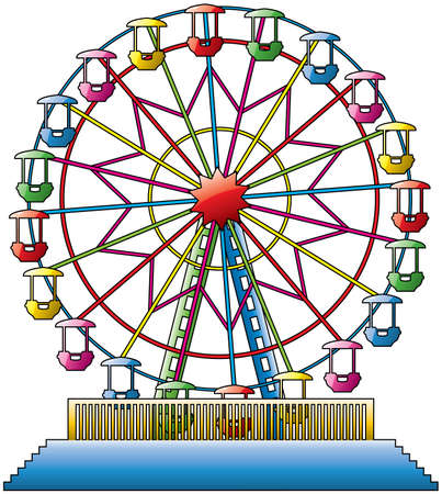 amusement park black and white: vector illustration of colorful ferris wheel
