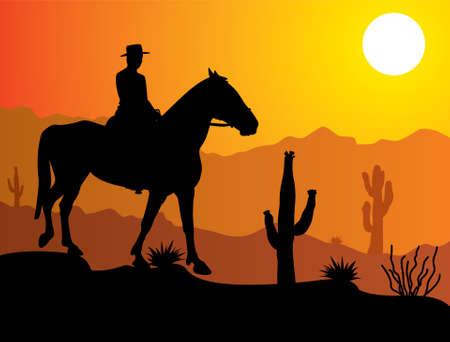 cactus desert: vector man op het paard in de woestijn bij zonsopgang of zonsondergang Stock Illustratie