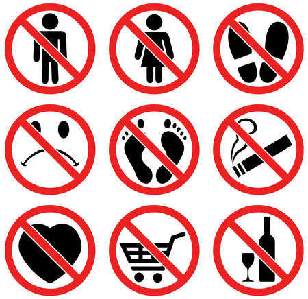 forbidden: vector set of prohibition signs