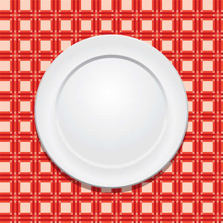 vector picnic tablecloth and empty plate Vector