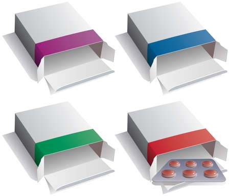 medical box: vector set of pill packs and medical pills