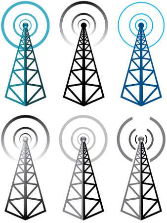 broadcasting: Vector conjunto de s�mbolos de la torre de radio