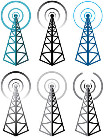 wireless tower: vector set of radio tower symbols Illustration