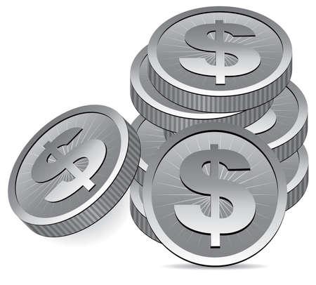 prata: moedas de prata vector Ilustra��o