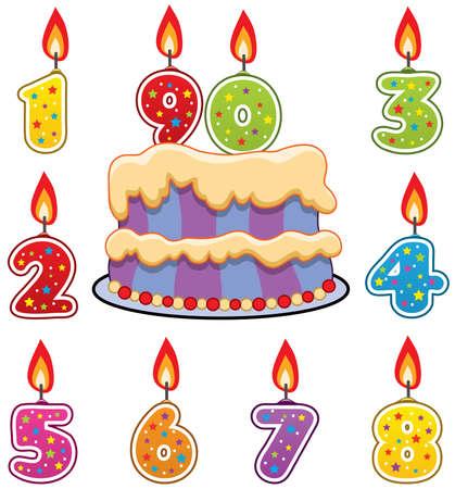 number candles: velas de cumplea�os y la torta