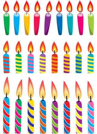 kerze: Reihe von bunten Geburtstagskerzen Illustration