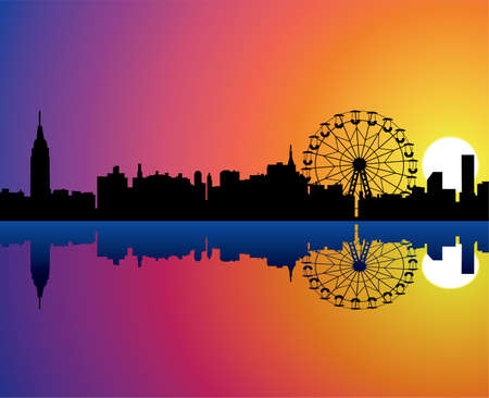 city background with reflection in water Stock Vector - 10099114