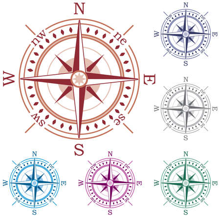 north star: set of colorful compasses