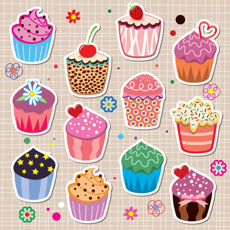 melt: set of colorful cupcakes