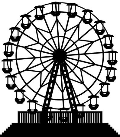 amusement park black and white: ferris wheel