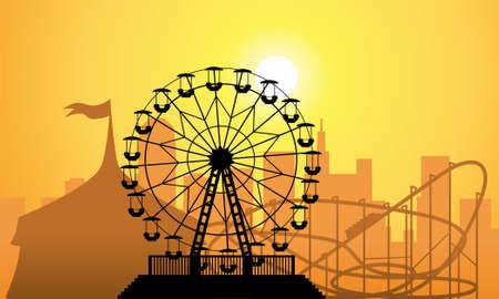 silhouetten van een stad en amusement park met circus, reuzenrad en achtbaan