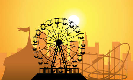 amusement park black and white: silhouettes of a city and amusement park with circus, ferris wheel and roller-coaster