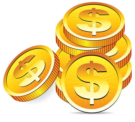 gold money: golden coins Illustration