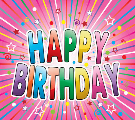 happy birthday greeting on colorful background Stock Vector - 10099126