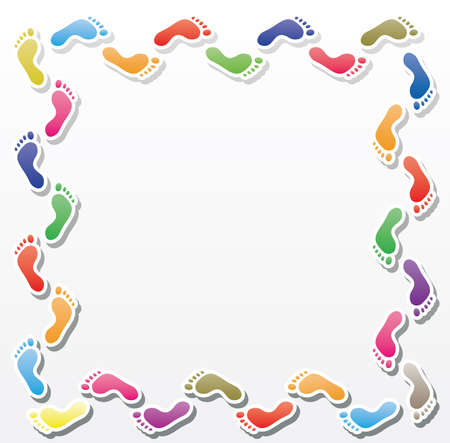 colorful footprints border Vector