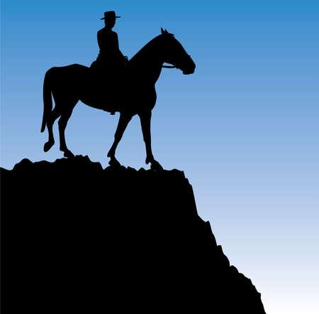 silueta ciclista: hombre a caballo en la cima de la monta�a