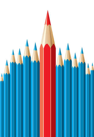 special individual: pencils, leadership concept