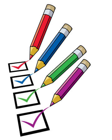 evaluate: pencils and checklist Illustration