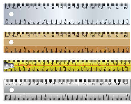 set of rulers and measuring tape in millimeters, centimetres and inches Vector