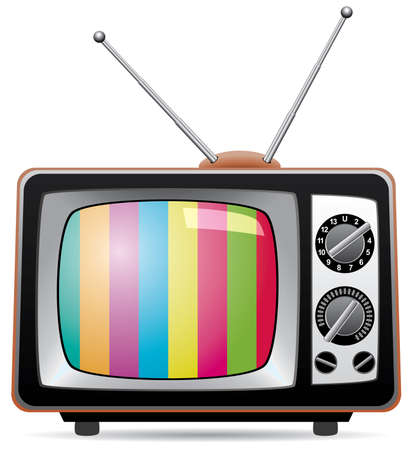 television screen: retro tv set  Illustration