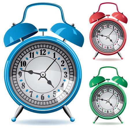 morning blue hour: set of colorful retro alarm clocks