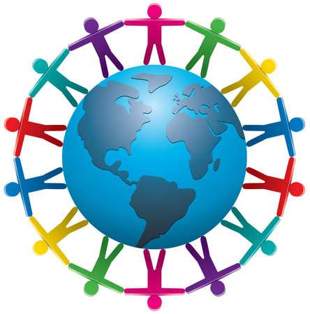 paz mundial:  Ilustración de personas alrededor del mundo