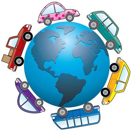cars around earth globe Vector