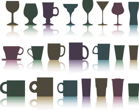 set of cups, mugs and glasses Vector