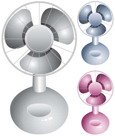 electric grid:  set of electric table fans on white background